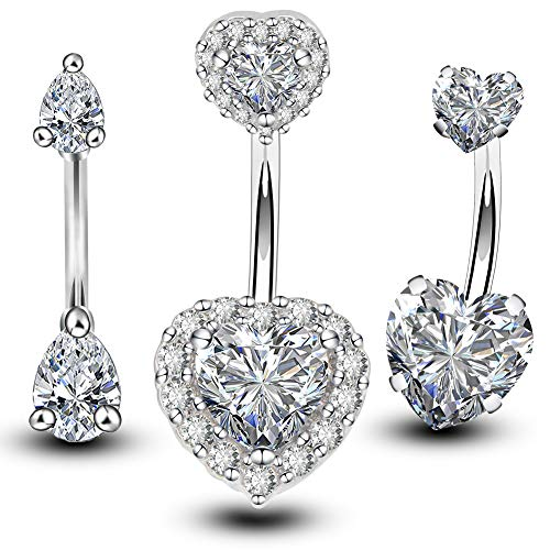 OUFER 3PCS 316L Surgical Steel 14g Belly Button Rings Clear CZ Navel Rings Belly Jewelry