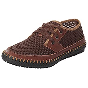 UJoowalk Men's Casual Breathable Flexible Outdoor Lace up Sneakers Quick Drying Mesh Aqua Water Shoes (12 D(M) US, Coffee)