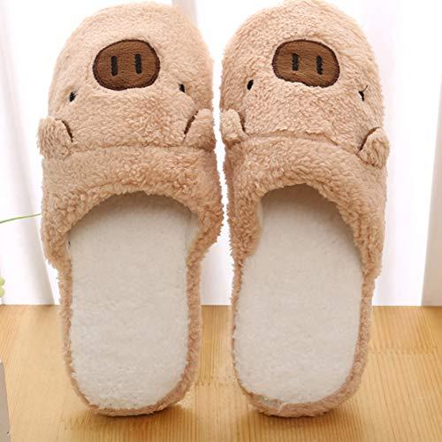 Winter House WYSBAOSHU Shoe Women Warm Couples brown Men Slipper Indoor Pig 1 OxAp6x