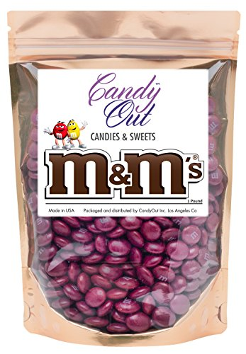 Maroon m&m 1 Pound Milk Chocolate in CandyOut Sealed Stand Up -