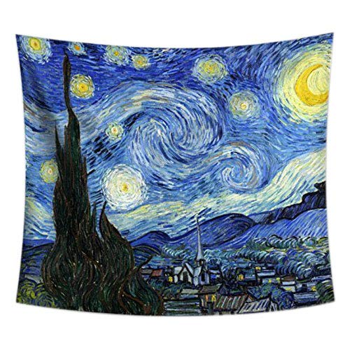 (Uphome Starry Night Tapestry Hanging - Van Gogh Painting Art Wall Haing Cheap Fabric Wall Art Decor, 51