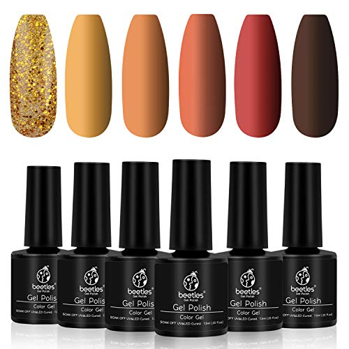 Beetles Gel Polish Set, Pumpkin Spice Yellow Gel Nail Polish Red Orange Glitter Nail Polish Kit Soak Off Nail Lamp Cured, 7.3ml Each Bottle for Nail Art