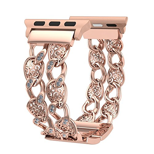 Gold Buckle Mesh (FresherAcc Compatible Apple Watch Band 38mm Rose Gold Women Men, Bling Cowboy Chain Comaptible iWatch Replacement Strap, Adjustable Wristband Compatible Apple Watch Nike+, Sport, Series 3,2,1)