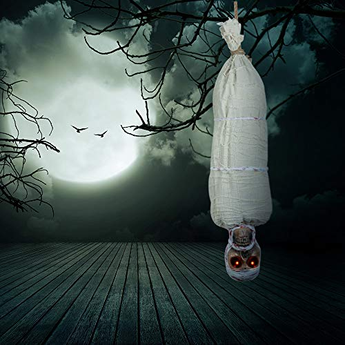 TUPARKA 40 Inch Sounding Cocoon Corpse Mummy Halloween Party Toys Halloween Decoration, Hanging Animated Talking Skeleton Ghost Glowing Red Eyes Halloween Haunted House Prop Decoration