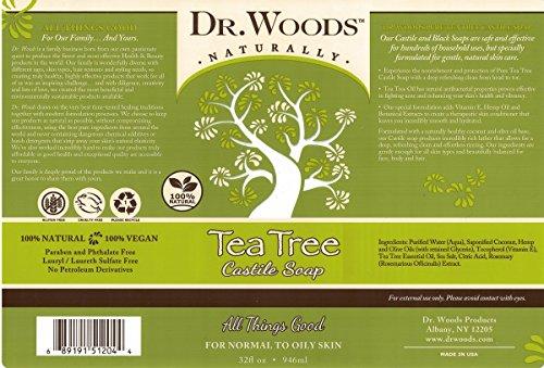 Dr. Woods Pure Tea Tree Liquid Castile Soap, 32 Ounce 2 Dr. Woods Tea Tree Castile Soap 32 oz. Soap