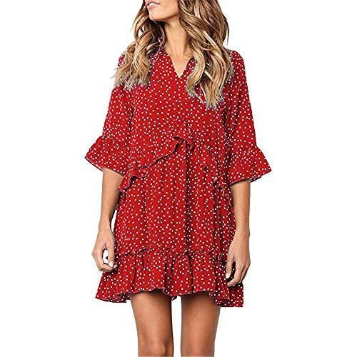 Exlura Women's Ruffle Polka Dot V Neck Bell Sleeve Dress Casual Loose Swing T-Shirt Dress Red ()