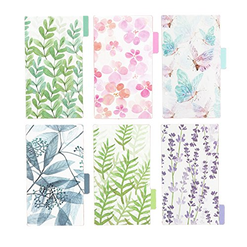 Plastic Divider Card - Funcoo Plastic Planner Index Dividers Category Page Tab Indexing Cards for A6 6-Holes Ring Binders/Planners Notebook/School Stationery, 6 Sheets/Pack, 2 Pack (Style-1)