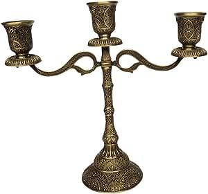 Serenable Castiçal Candelabros Artesanato Peça Central Decoração Para Bar Festa De Casamento - Bronze de 3 ramos