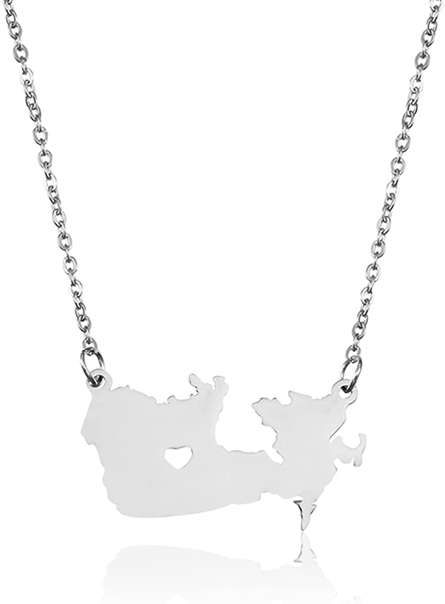 Silver Tone Stainless Steel Map Pendant Necklace, We Love Canada, Canada