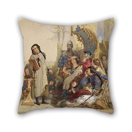 Pillowcover of Oil Painting Ford Madox Brown - Chaucer at The Court of Edward III - Watercolour Version for Kitchen Teens Her Teens Boys Play Room Bedroom 18 X 18 Inches / 45 by 45 cm(Double Sides