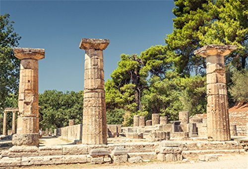 CSFOTO 7x5ft Background for Ancient Site of Olympia Greece Photography Backdrop Antique Doric Column Ruin Attraction City Historical Building Old Park Holiday Photo Studio Props Polyester Wallpaper -