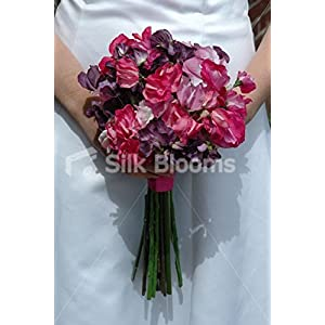 Stunning, Modern Sweetpea Bridal Bouquet in Aubergine and Pinks 19
