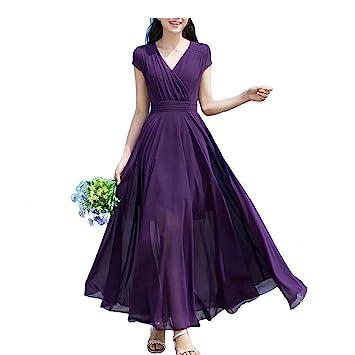 Purple Pencil Dress Women s V-neck Bohemian Waist Chiffon Dress Girls  Summer Tops Fashion Women bba4494c5a13