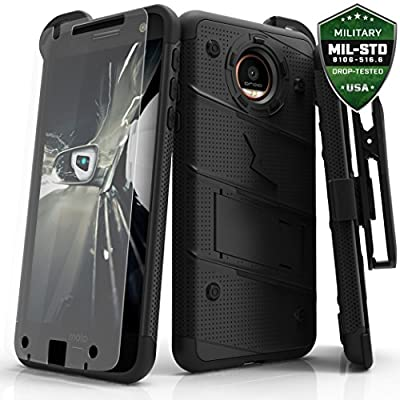 Motorola Moto Z Force Case, Zizo [Bolt Series] w/ [Moto Z Force Screen Protector] Kickstand [Military Grade DropTested] Holster Clip - Moto Z Force