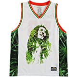 Bob Marley Men's Leaves Basketball Jersey White