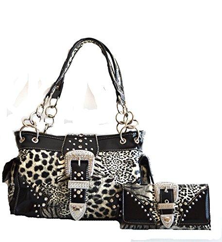 Western Leopard Cheetah Animal Rhinestone Bel Buckle Stud Purse Set (Black) Rhinestone Accented Handbag Purse