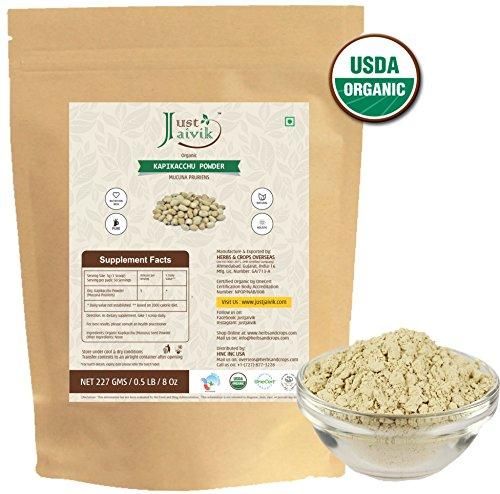 100% Organic Kapikacchu Powder (0.5 lb / 227g / 08 oz) by Just Jaivik | Raw, Gluten-Free & Non-GMO - Certified Organic Under NPOP and NOP Standards