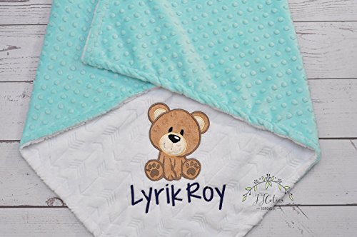 Personalized Teddy Bear minky baby blanket, Choose your own minky color