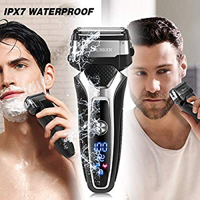 Electric Shaver for Men, Homeasy Men Electric Razor Rotary Beard Trimmer Nose Hair Trimmer Face Cleaning Brush Waterproof Wet and Dry USB Rechargeable 4 In 1 Shaving Machine