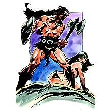"""NEWTON BURCHAM original art, BEOWULF the BERSERKER, Conan, axe, 11"""" x 17"""", 2011"""