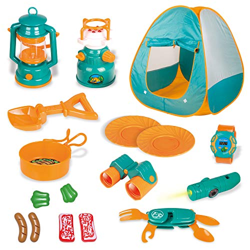 18 PCs Kids Play Tent, Pop Up Tent with Kids Camping Gear Set, Outdoor Toys Camping Tools Set for Kids]()