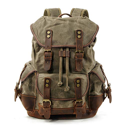 BSWOME Mens Waxed Canvas Backpack Leather Rucksack for Men Wax Leather Backpacks Travel Vintage Bookbag with Laptop Compartment Rustic Large Waterproof Army - Messenger Jungle Green Bags