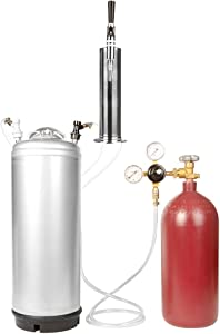 Nitrogen Stout Beer Keg Kit - 5 Gallon Keg, 40 cu ft Nitrogen Tank, Tap, All Accessories