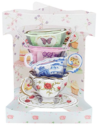 Santoro Swing Card 3D Pop Out, 6 x 8-Inches, Teacups