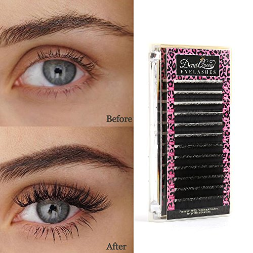 Demi Mink - Demi Queen 100% Real Mink Individual Eyelashes Extensions D Curl Volume Eye Lash Salon Use Mix Tray 8mm-14mm Thickness 0.15mm (D Curl)