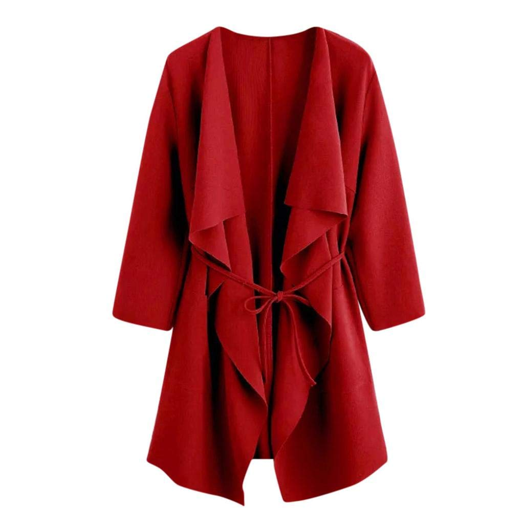 aliveGOT Women Open Front Waterfall Draped Trench Coat Cardigan Front Wrap Jacket (Red, L)