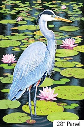 Blue Heron with Pink Water Lilies 28 X 44 Northcott Cotton Fabric DP21820-49