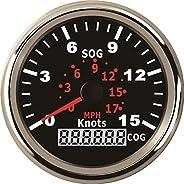 ELING Universal GPS Speedometer Speedo Gauge 15Knots for Boat Yacht Vessel 3-3/8'' (85mm) 9-32V (LED S
