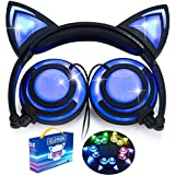 Cat Ear Girls Boys Kids Headphones with Glowing LED Light Rechargable 85dB Volume Limited Adjustable Headband 3.5mm Jack Over/On Ear Wired Earphone Foldable Game Headset for Toddlers Phone PC Tablets