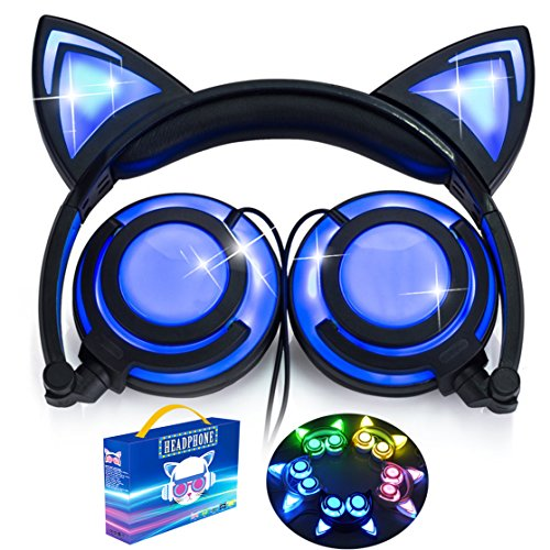 [Upgraded Version] Cat Ear Kids Headphones LED Light Rechargable 85dB Volume Limited iGeeKid Foldable Over/On Ear Headsets Girls Boys Phone Tablet School Travel Outdoor Children Musical Device