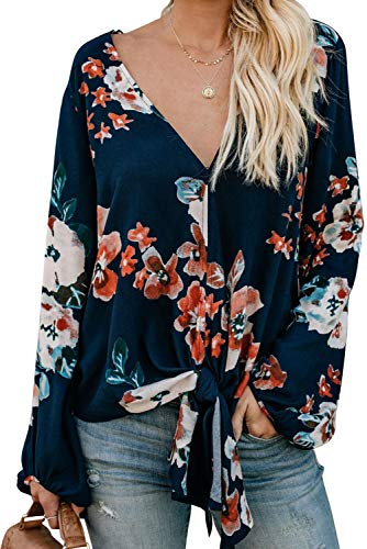 (Blouses for Women Petite Fashion 2019 Chiffon Tie Knot Floral Print Tops Deep V Neck Casual Loose Shirts Floral Orange S)
