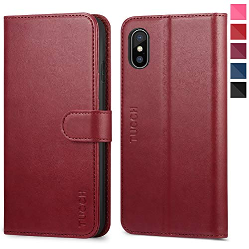 TUCCH iPhone Xs Max Wallet Case, iPhone Xs Max Case, PU Leather Flip Case with Card Slot,RFID Blocking,Kickstand, Auto Wake/Sleep [Wireless Charging] Compatible iPhone Xs Max(6.5 inch) - Red