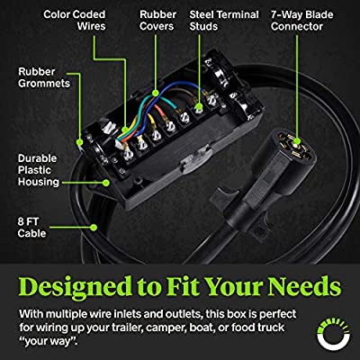 ONLINE LED STORE 8ft 7-Way Trailer Plug Wiring Harness w/ 7 Gang Trailer Junction Box [7-Pin Trailer Cord Wire Cable] [Waterproof] 7 Prong Trailer Wire/Cable Connection Box: Automotive