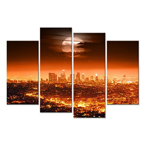 Hello Artwork - 4 Panel Full Moon USA Los Angeles Night City Lights Cityscapes Contemporary Scenery Photographic Print New York Wall Art Painting Print On Canvas Pictures Artwork For Modern Home Decor