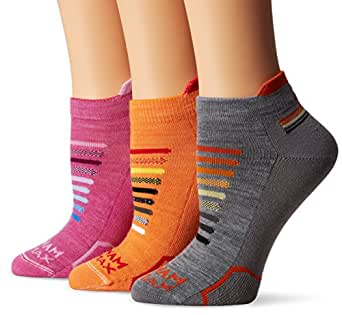 Wigwam Women's Ironman Spectrum Pro Low Cut Running Sock 3-Pack, Grey/Orange/Purple Orchid, Medium