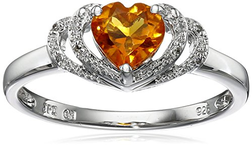 Sterling Silver Citrine and Diamond Accent Open Halo Heart Ring, Size (Citrine Accents)