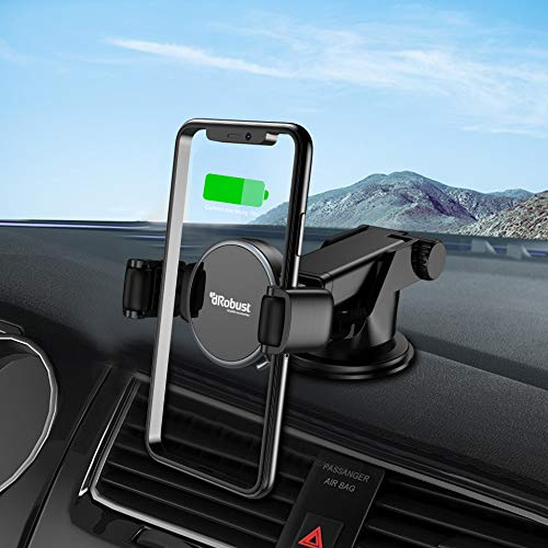 dRobust Phone Holder for Car -Innovative Roller System Rotating- Cell Phone Holder - Car Phone Mount - Phone Cradle Compatible with iPhone Xs XS Max XR X 8 8+ 7 7+ 6+ 6 Samsung LG (Dash/Windshield)