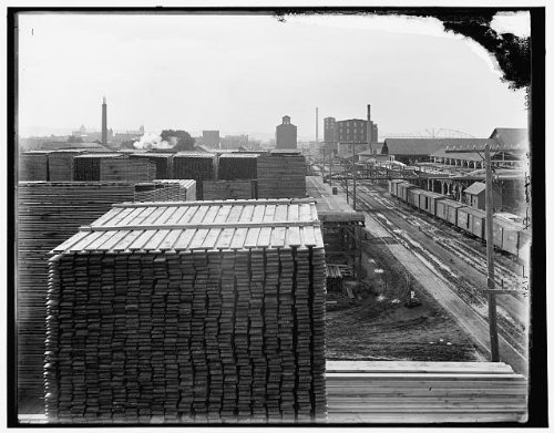 Photo: Winona, sawmill plant, lumber industry, industrial facilities, buildings, MN, 1890 . Size: 8x