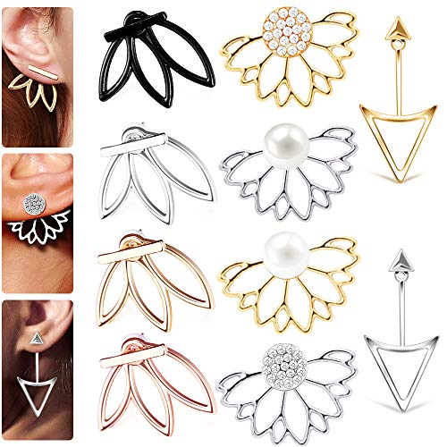 10 Pairs Ear Jacket Stud Lotus F...