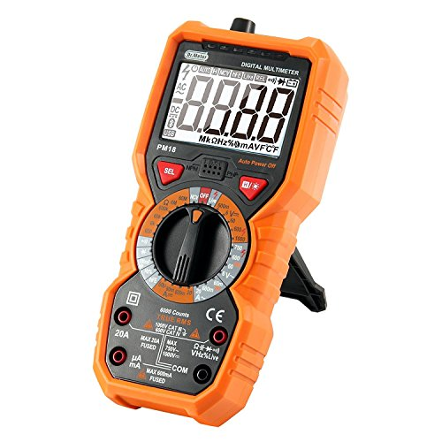 Auto-Ranging Digital Multimeter Dr. Meter PM18 Measuring Instrument AC Voltage Detector Portable Amp/Ohm/Volt Test Meter Multi Tester w/ Diode and Continuity Test Scanner Electronic DIY Hand Tools - Line Voltage Compact