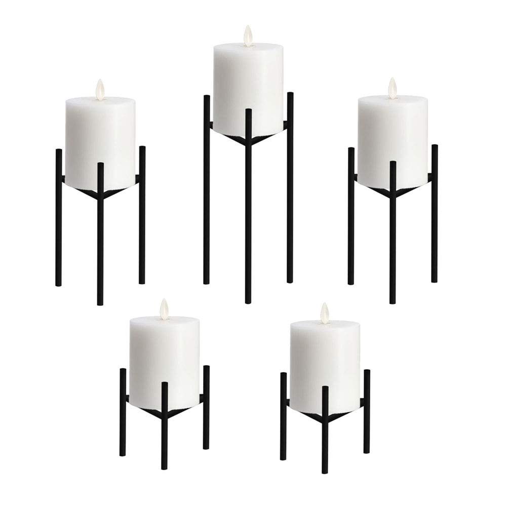 Only-us Metal Pillar Candle Holders Set of 5 Black Candlesticks for Fireplace/Living Room/Dinning Room Table Candelabra Decoration Modern Art Classic Design with Geometric Shape