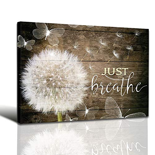 White Dandelion and Butterflies Just Breathe Quotes Poster Brown Rustic Wall Art Canvas Paintings Beautiful Decorative…