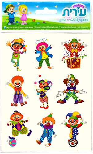 Colorful Beautiful Clowns Stickers in Shades of Blue.10 Sheets 90 Stickers Pack. Perfect for: Arts, Crafts, Toys and Games, Also Suitable for Jewish ()