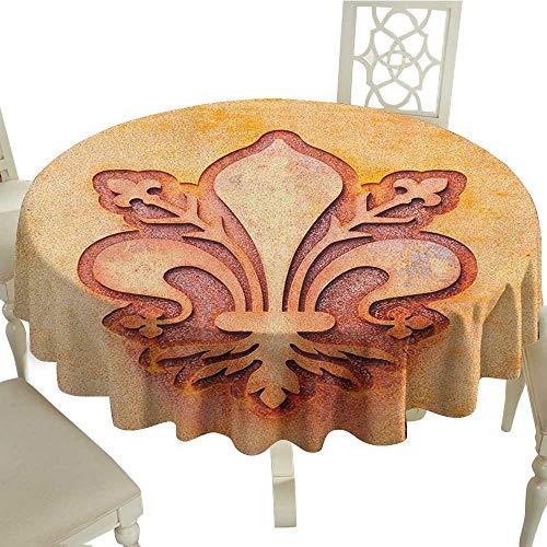(Gingham Round Tablecloth 50 Inch Fleur De Lis,Lily Flower Symbol on Plate Floral Design Royal Arms France Sign Cultural Print Orange Great for,Holiday Dinner & More)