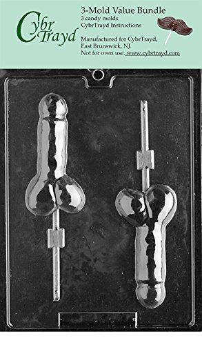 CybrTrayd XX500-3BUNDLE Pecker Pop Chocolate Candy Mold with Exclusive Copyrighted Chocolate Molding Instructions