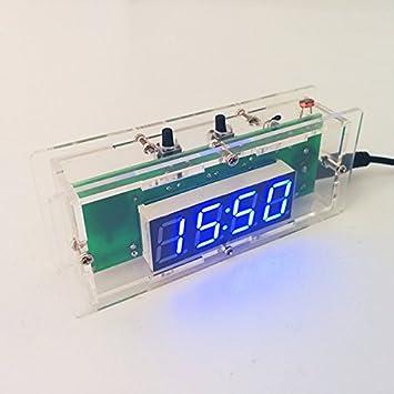 LaDicha Diy C51 Microcontrolador Electrónico De Control De Luz Led Temperatura Digital Reloj Kit Con Case-Azul: Amazon.es: Hogar